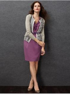 banana republic dress and cardie, love the dress color!