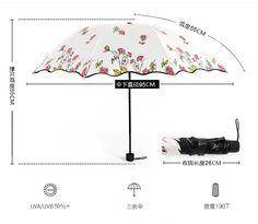 Anti-UV Sun Rain Umbrella Parasol Compact Three Folding Flower Black Coating Parasols High Quality Windproof Umbrellas T20 #Affiliate