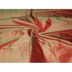 "SILK TAFFETA FABRIC 54"" ~Orange with Green shot $18/yd"