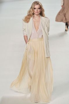 High waisted maxi skirt with sheer blouse and blazer - Just Fab!