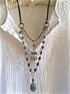 this beautiful triple strand necklace is all blue, green, gray labradorite, but mostly blue with a lot of flash! from its large tear shaped labradorite pendant on a glazed spectrolite beaded chain as…MoreMore #JewelryIdeas
