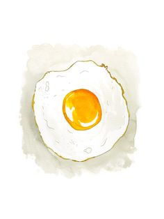 Fried Egg - Marcella Kriebel Art and Illustration   #marcellaartandillustration #foodart #watercolor #illustration