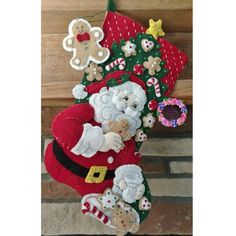 "Bucilla Holiday Teddy ~ 18/"" Felt Christmas Stocking Kit #86815 Santa Toys Bells"