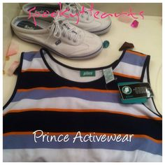 Bogo!! prince active wear !XL Navy orange white colors ! Prince active wear ' i love the way the back is cut brand new with all the tags i live the material nice thick material  great color cordination.•• Add Any item of equal or lesser value FREE til dec. 9th prince Tops Tank Tops
