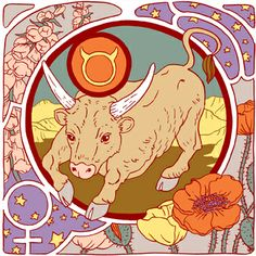 Taurus Zodiac Sign Art Print | Astrology Signs | Illustration & Design | Venus Symbol | Astrological Glyphs | The Bull | Earth Element