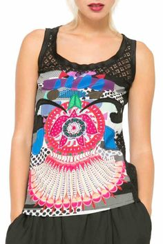 Desigual T-Shirt Nomi  a very pretty black tank top designed by Christian Lacroix from Learn collection! Very sexy top with crocheted lace back and upper front scoop neck colourful floral design on front sleeveless. Its fresh and trendy perfect for dressy or casual wear. Comfortable fit stretchy.  Nomi Blouse by DESIGUAL. Clothing - Tops - Sleeveless Hawaii