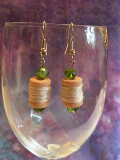 Miniature Thread Spool Earrings; Gifts for women; miniature jewelry for sewers, spools of thread accessories; unique one of a kind earrings