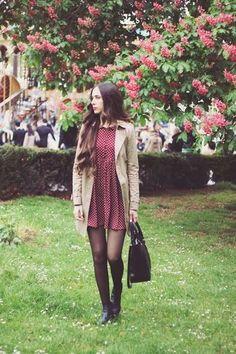Women's Beige Trenchcoat, Burgundy Polka Dot Skater Dress, Black Leather Ankle Boots, Black Leather Tote Bag