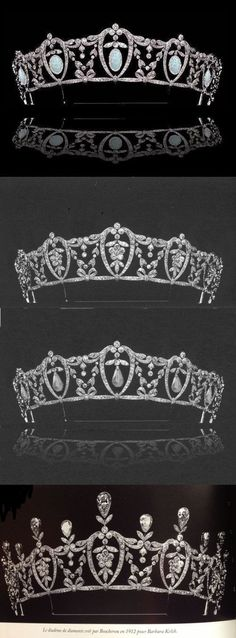 Adaptable tiara made in 1912 by Boucheron for Barbara Kelch - it can be (T to B) hung with opal drops, entirely diamonds, drops that may be cabochon emeralds or pearls (the photo is indistinct) or diamonds with upright tear-drop shaped diamond finials- see Diamond III, Opals, Unknown for the possible emerald/pearl drop versions