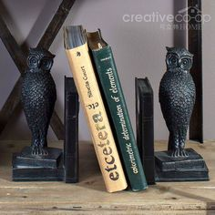 Turn of the Century Bronze Resin Owl Bookends  ★ Creative Co-Op Home