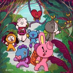 A simple jungle Trek with Fanart Bts, Les Bts, Line Friends, Bts Drawings, Bts Chibi, Bts Fans, I Love Bts, About Bts, Bts Group