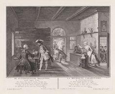 Pieter Tanjé   De Puiterveense helleveeg achter de tap, Pieter Tanjé, Lucas Pater, Monogrammist HJR (schrijver), 1752 - 1761   De verklede dieven Jan de Rolder en Piet Pothuis heffen het glas in de gelagkamer, waar Swaantje achter de tapkast tegen haar man Fobert staat te tieren. Ze is daar zo druk mee, dat ze niet door heeft dat ze wordt bestolen. In de zijkamer rechts zitten Hartje Spilpenning en Saartje van Lichten gekleed als doopsgezinden. Onderaan in de marge een vierregelig vers in…