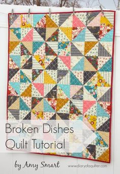 Half Square Triangle (Broken Dishes) free baby quilt pattern from Diary of a Quilter