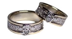 Celtic Two Tone Gold Diamond Claddagh Wedding Band Set