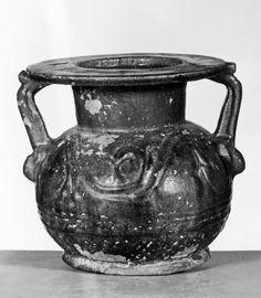 Jar; Egyptian/Roman (?), faience with blue glaze, 30 BC-AD 395 (Roman)