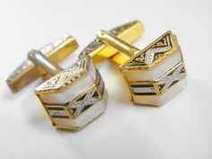 Your place to buy and sell all things handmade Men's Cufflinks, Vintage Cufflinks, Antique Jewelry, Vintage Jewelry, White Enamel, Modern Jewelry, Colored Diamonds, Handbags, Tie