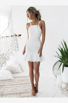 White Lace Short Homecoming Dresses, Short Party Dresses, Sexy Cocktail Dresses · Prettyqueenprom · Online Store Powered by Storenvy Lace Party Dresses, Long Wedding Dresses, Sexy Dresses, Short Dresses, Wedding Gowns, Dress Party, White Bachelorette Party Dress, Lace Wedding, Wedding White