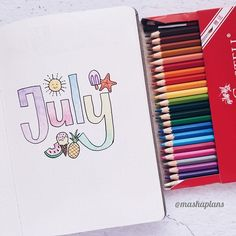 Masha (@mashaplans) July summer cover for my Bullet Journal! Summer mood all the way! #bulletjournal #bulletjournalideas #bujo #doodles #summerbujo #bujocoverpage