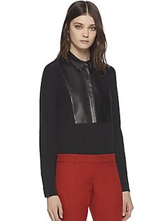 Gucci Leather & Silk Crepe De Chine Shirt