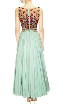 Medha Batra presents Mint green floral embroidered cutout anarkali suit available only at Pernia's Pop Up Shop. Indian Wedding Outfits, Indian Outfits, Colorful Fashion, Asian Fashion, Salwar Kameez, Pretty Dresses, Beautiful Dresses, Anarkali Gown, Lehenga Blouse