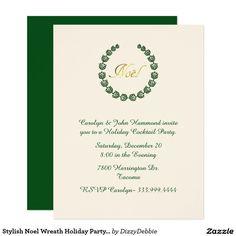 Stylish Noel Wreath Holiday Party Invitation