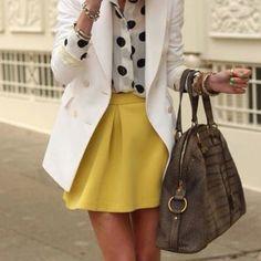 Polka dot. White blazer. Umbrella skirt.