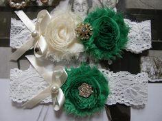Garter / Wedding Garters / Ivory / Emerald by FalabellaBridal, $20.80