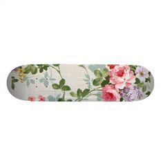 Vintage Elegant Girly Pink Red Roses Pattern Skateboard Deck