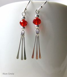 Bright Red Faceted Crystal Beads, Silver Paddle Drops, Dangle Earrings. $10.00, via Etsy.