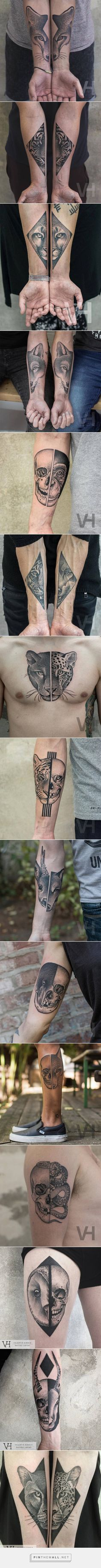 Split Animals Faces Tattoos Inked on Separate Sides – Fubiz Media - created via https://pinthemall.net                                                                                                                                                      Más