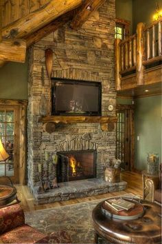 Stone Fireplace in Log Cabin