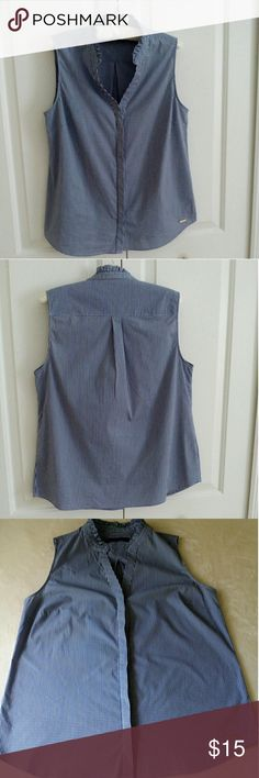 """Ivanka Trump Classy Gingham Sleeveless, NWOT! Well made and very classy! Measurements are approximately 20"""" bust and 26"""" length. 14"""" across the back shoulder. This is a Large, but IMO could be a M/ L. The blue and white small gingham is understated. The ruffled collar is beautiful. The buttons are hidden for a sleek look. Gold Ivanka tag on bottom left front. Ivanka Trump Tops Button Down Shirts"""