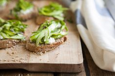 Shaved Asparagus and Goat Cheese Crostini- holy yum!