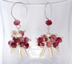 Strawberry Swirl -- Sterling zilveren hangers met zoetwateparels en jade
