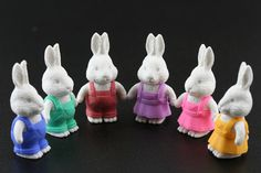Set of 6 Series Two White Bunny Erasers