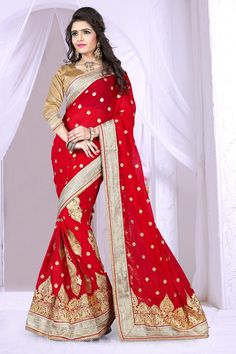 Buy Red Georgette Wedding Saree 63911 with blouse online at lowest price from vast collection of sarees at Indianclothstore.com.  #WeddingSarees #OnlineShopping