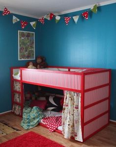 Ikea 'Kura' bunk bed with very cute cubby underneath, created by adding curtains, cushions, a small wall lamp or fairy lights and possible small book shelf etc inside - so simple, so awesome, cosy & fun!