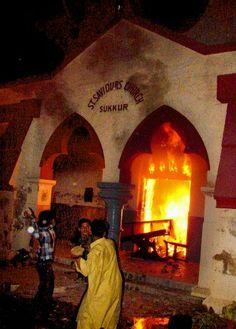 Burning Saint Saviour's Christian Church Sukkur, Pakistan