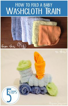 How to fold a Washcloth Train. This would be SO cute for a baby shower! #babyshower #baby #trains