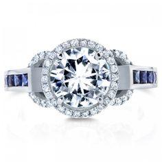 Forever Brilliant Moissanite, Sapphire & Diamond Engagement Ring 3 CTW in 14k White Gold