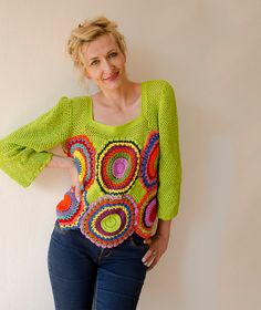 Green Blouse Top Long Sleeved Multicolored MADE TO ORDER