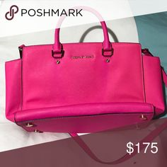 Hot Pink Michael Kors Bag Dope. Color is bright and popping. Might change my mind because they match my huaraches. Slightly discolored under handle, barely noticeable. This hot pink color has not be redone. Original. Michael Kors Bags