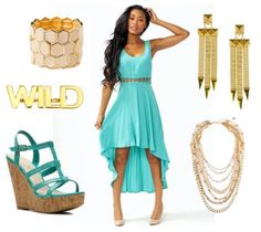 Wedding Outfit: High-Low Dress, Wedges, Statement Jewelry