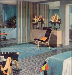 Mid-1960s master bedroom?  Baby blue with whimsical sun yellow and true orange accents.
