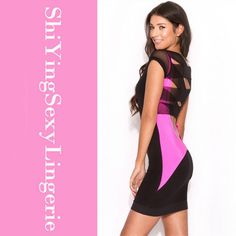 $14.99 - Pink Black Mesh Lattice Strap Back Bodycon Dress Free Shipping Summer 2015 Sexy Patchwok Cap Sleeve women dresses