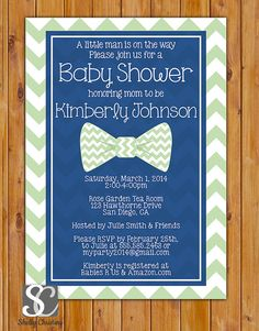 Little Man Bow Tie Baby Shower Invitation Navy Blue Mint Green Chevron Shower Invite 5x7 Digital Invite (157_mint)