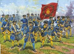 Swedish infantry The Great Northern War.  Click on image to enlarge.