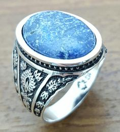 Handmade Silver Mens Ring With Natural Lapis Stone