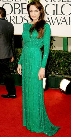 Angelina Jolie, in a shimmering emerald gown from Atelier Versace. #Fashion