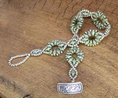 Czech Superduo Single Bracelet Green Flower by ScornavaccaDesigns